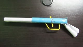 How to Make a Simple Paper Shotgun that shoots rubber band - Easy Tutorials