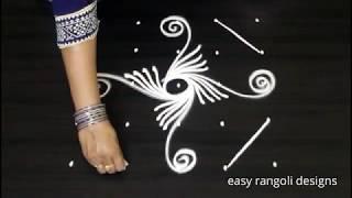 Daily routine muggulu with 5 dots - Beginners rangoli & kolam designs