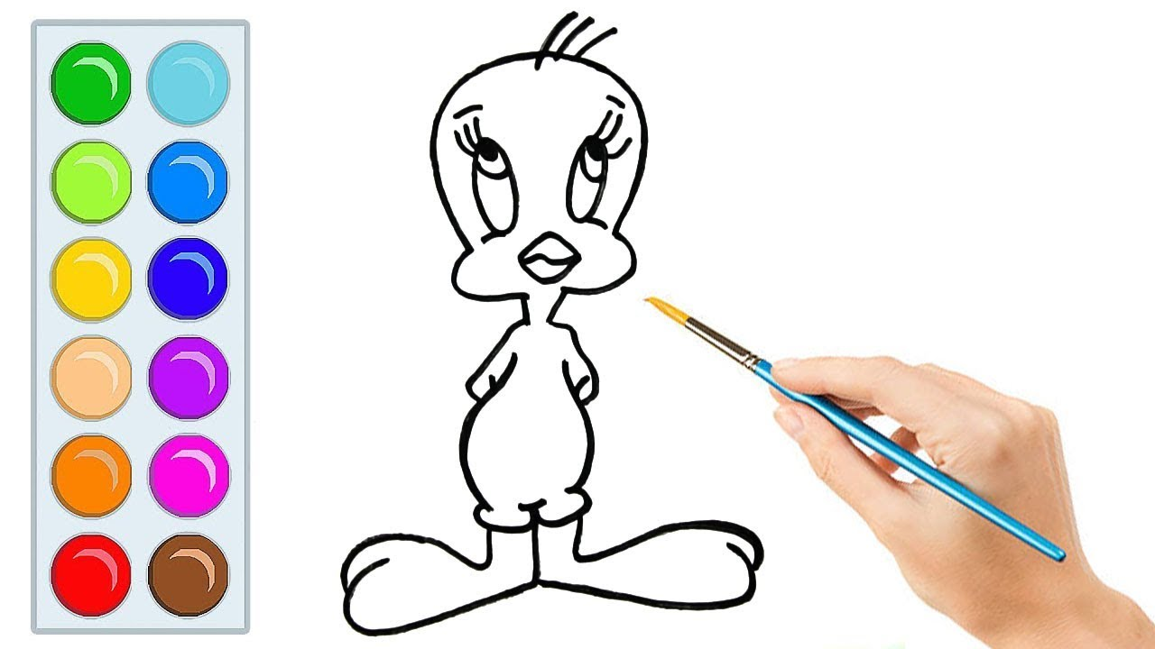 Download How to draw Tweety Bird - Easy step-by-step drawing lessons for kids
