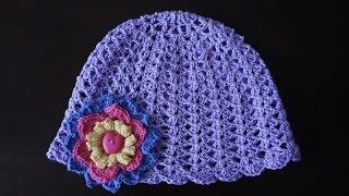 Шапочка на девочку крючком / Crochet girl's hat