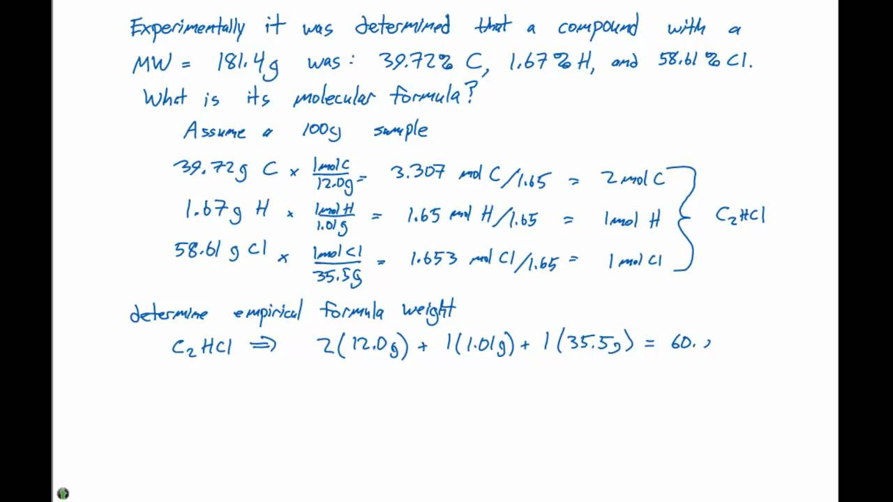 35 Molecular Formula Example Problem Youtube