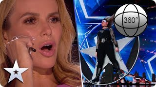 Feel the SUSPENSE in this 360 view of Simon and David's DARING knife-throwing stunt! | BGT 2020