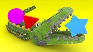 Learn shapes with a crocodile animal - Learning for kids with vehicles & animals - AnimaCars