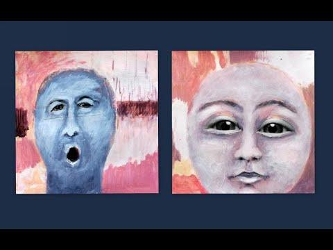 Acryl und Collage, seltsame, expressive Köpfe   Acrylic and collage, strange, expressive heads