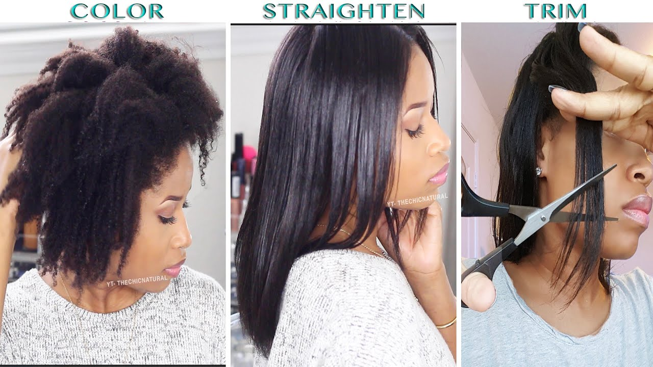 How To Color Straighten Trim Natural Hair Youtube