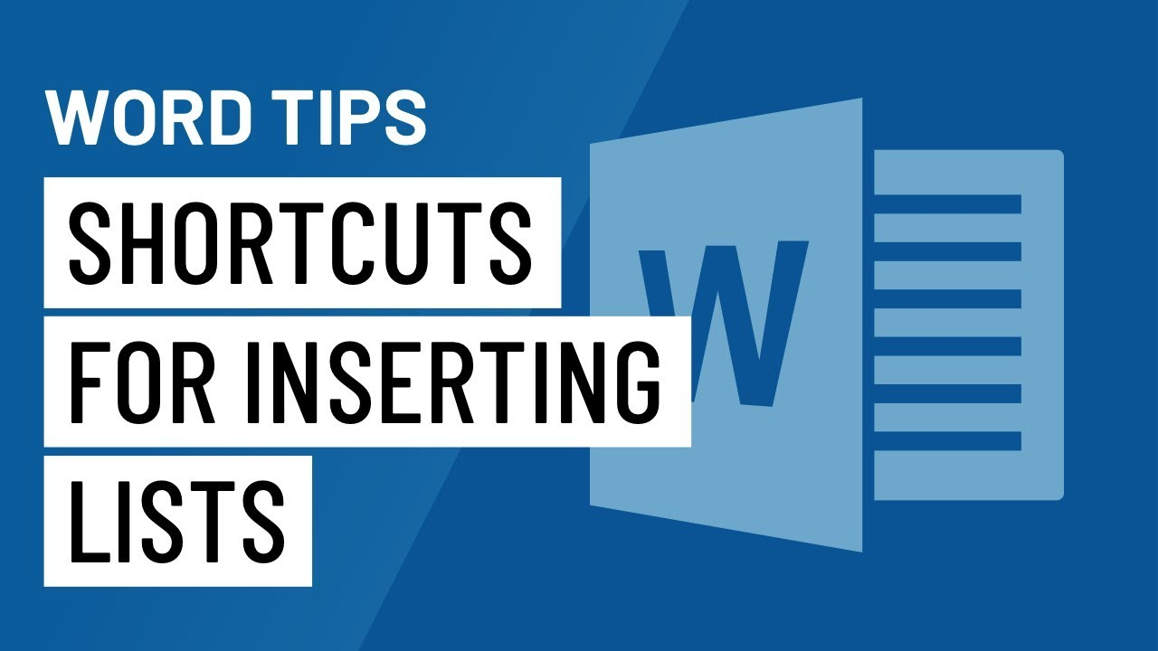 Word Quick Tip: Shortcuts for Inserting Lists