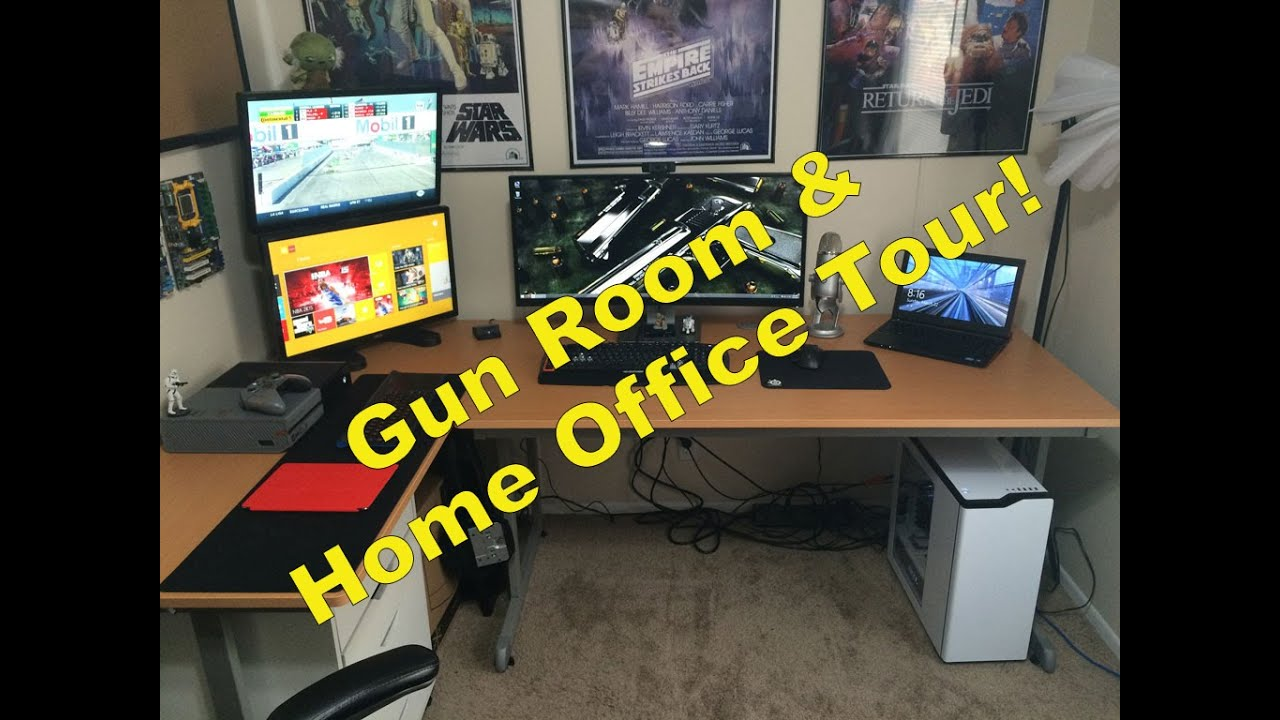 Gun Room / Man Cave / Home Office Setup Tour - YouTube