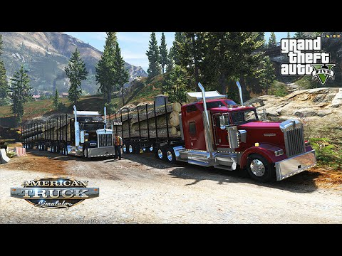 American Truck Simulator in Grand Theft Auto 5 Multi Log Trailer Trucking Mod Heavy Haul Online