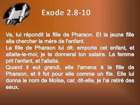 02 Le livre de l'Exode Chap 02 Texte déroulant et l'audio  vidéo évangile Bible La Parole de Dieu