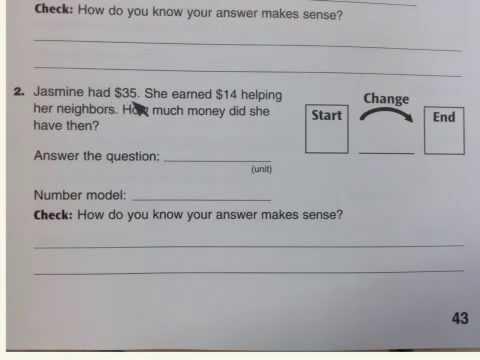 Change Number Stories Everyday Math 3rd Grade Homelink 2 5