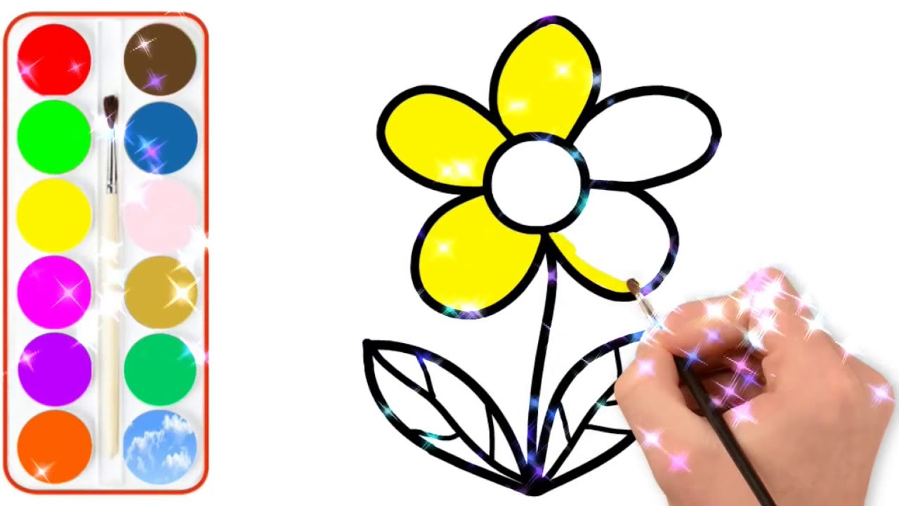 How To Draw Flower Painting And Coloring Pages For Kids