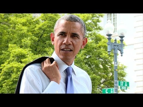 Raw Video: The President Takes a Surprise Walk