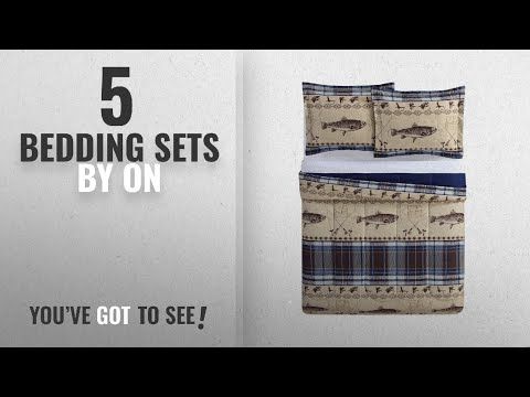 Top 10 On Bedding Sets [2018]: 3 Piece Blue Brown Beige Fishing Themed Hook Comforter Full Queen