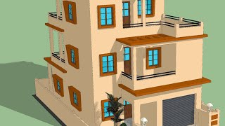 30 X 50 Latest 3 Floor House Plan With 3d Front Elevation Design