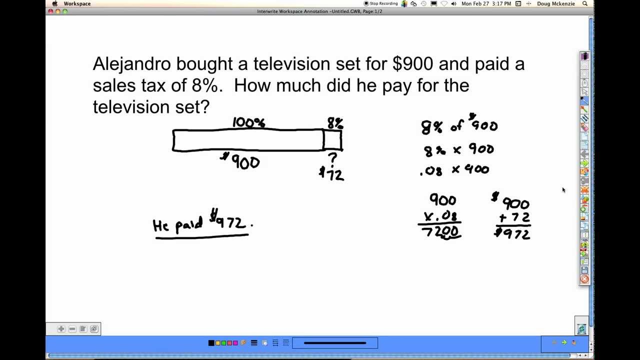 Sales Tax And Discount Singapore Math 6a Unit 4 Pt3 Youtube