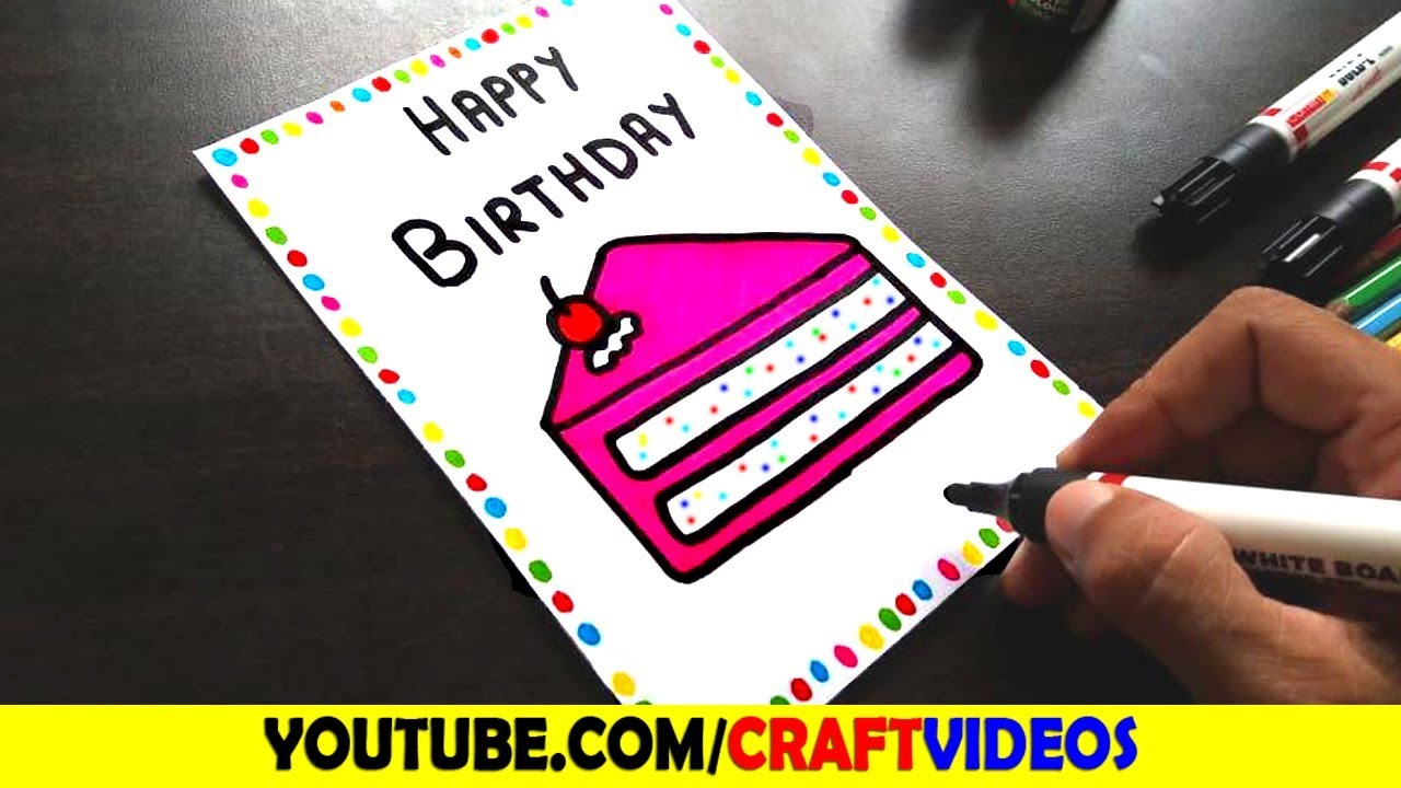 Birthday Card Drawing Easy Speed Drawing Youtube