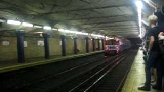 MBTA Blue line test train and old blue line trains at State