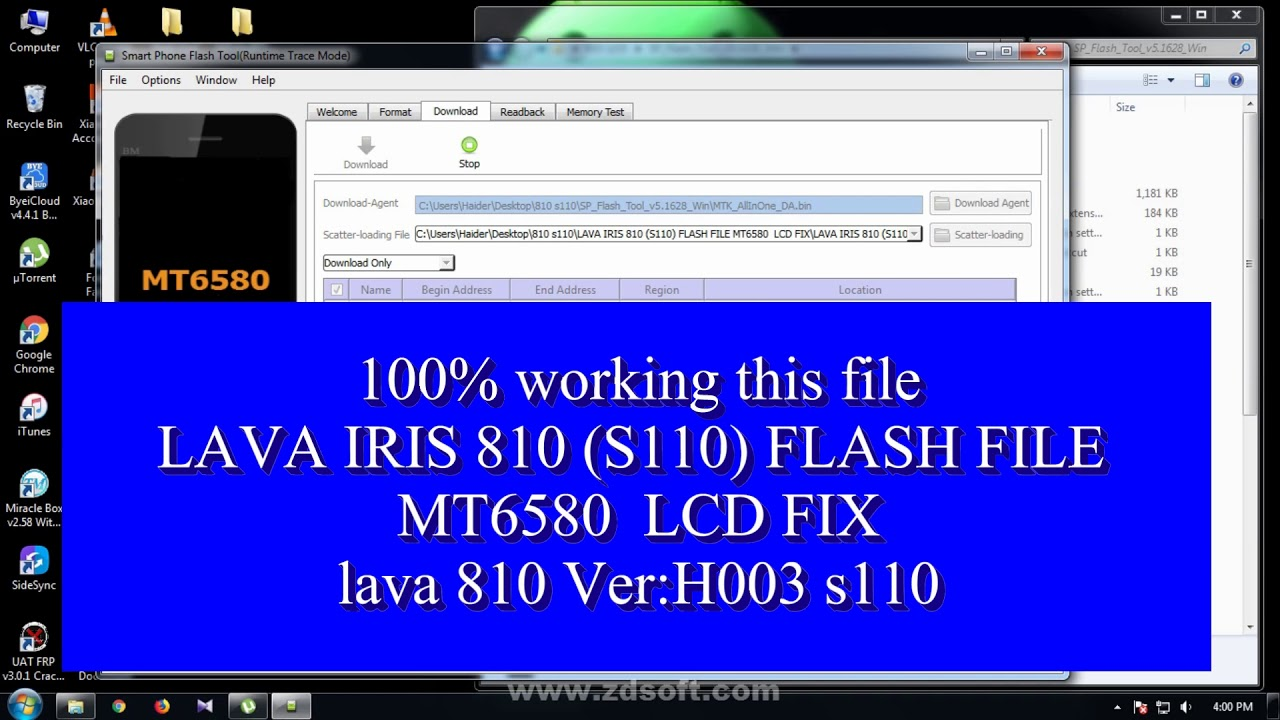 LAVA IRIS 810 (S110) FLASH FILE MT6580 LCD FIX//100% ok lava 810 flash file