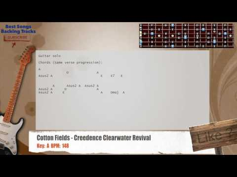 Cotton Fields - Creedence Clearwater Revival Guitar Backing Track with chords and lyrics