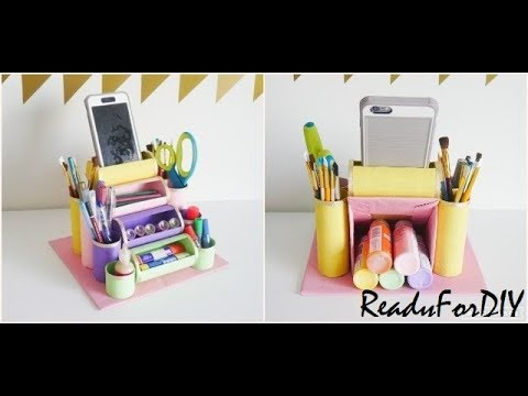 DIY Desk Organizer Using Toilet Paper Rolls | Recycling