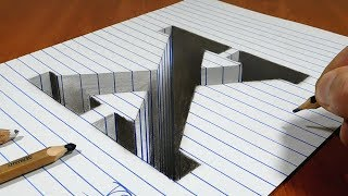 Draw a Letter X Hole on Line Paper   3D Trick Art