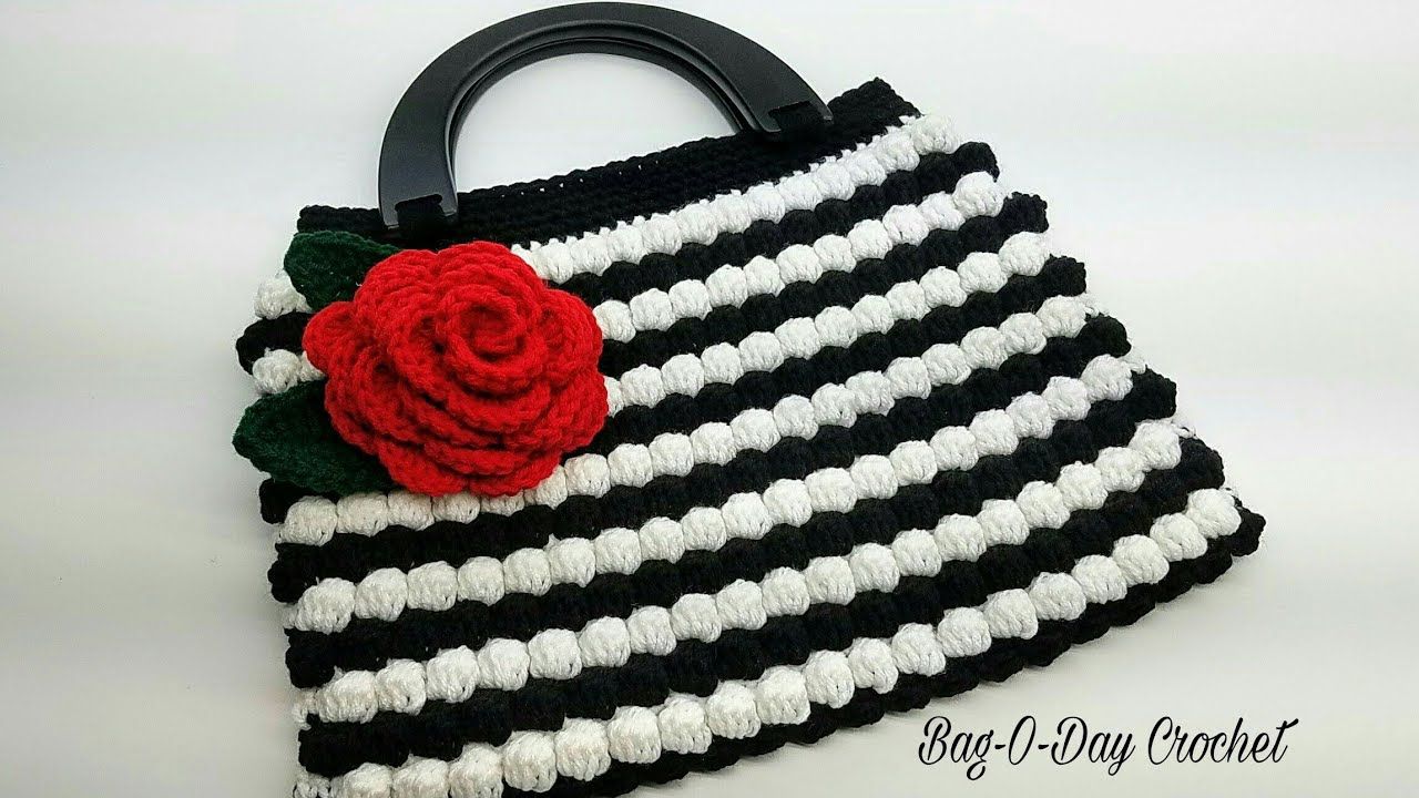 d895b511aabb How To Crochet - HANDBAG | Vintage Rose BOBBLE STITCH Purse | BAGODAY Crochet  tutorial #449