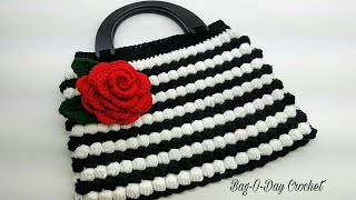How To Crochet - HANDBAG | Vintage Rose BOBBLE STITCH Purse | BAGODAY Crochet tutorial  #449