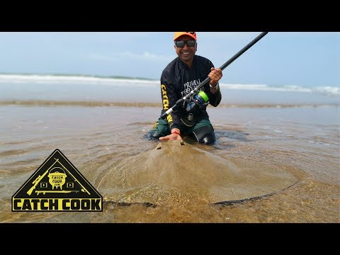Diamond ray caught in the surf & masala fish [catch cook] South Africa