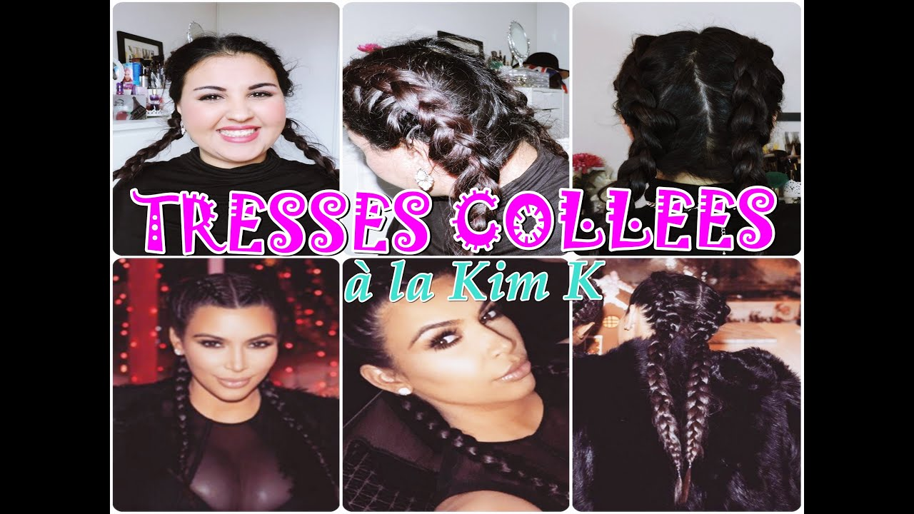 Tutoriel coiffure n°5 ▻TRESSES COLLÉES A LA KIM KARDASHIAN (double dutch  braid tutorial) , YouTube