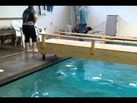 Karlie learning how to use pool ramps