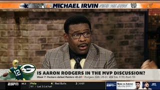 ESPN FIRST TAKE   Michael Irvin on Stephen A. IMPRESSED: Is Aaron Rodgers in the MVP Discussion?