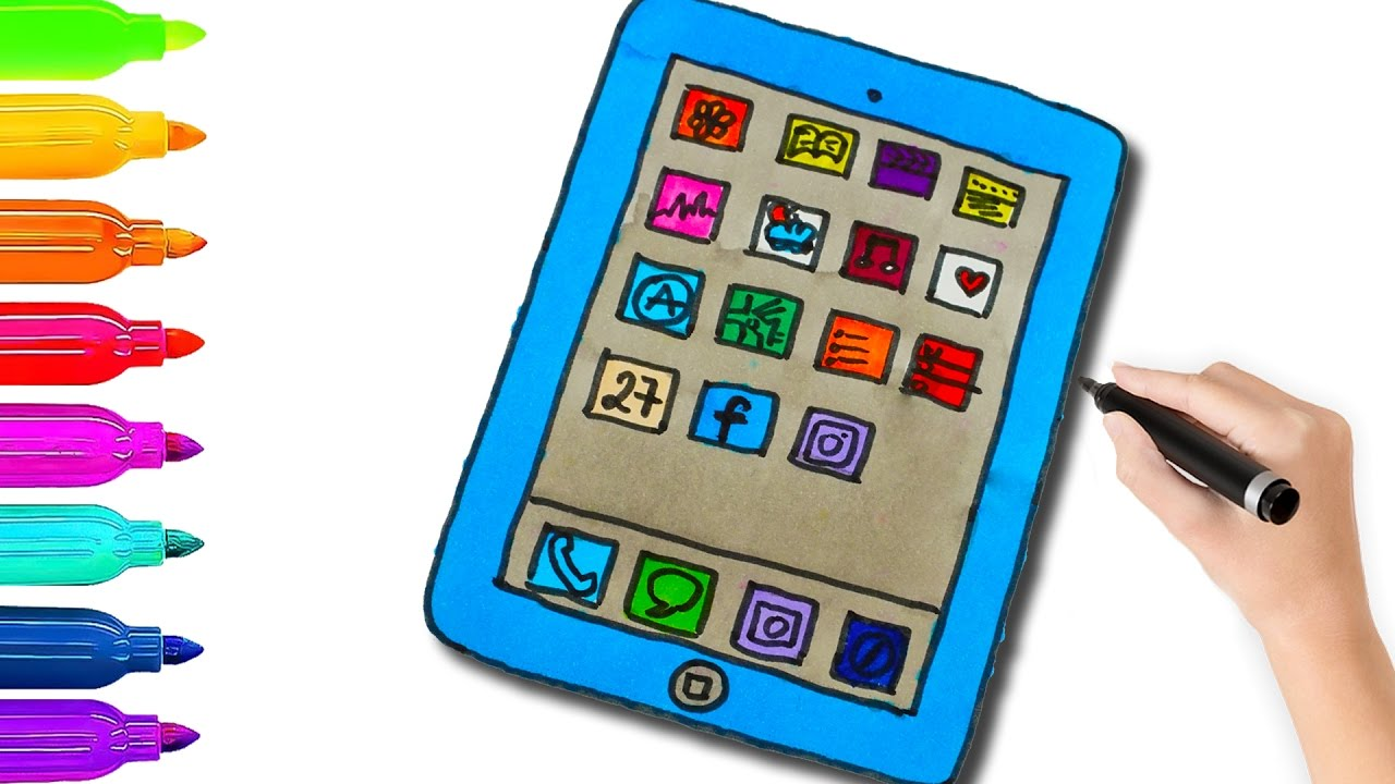 How to Draw Tablet PC for Kids