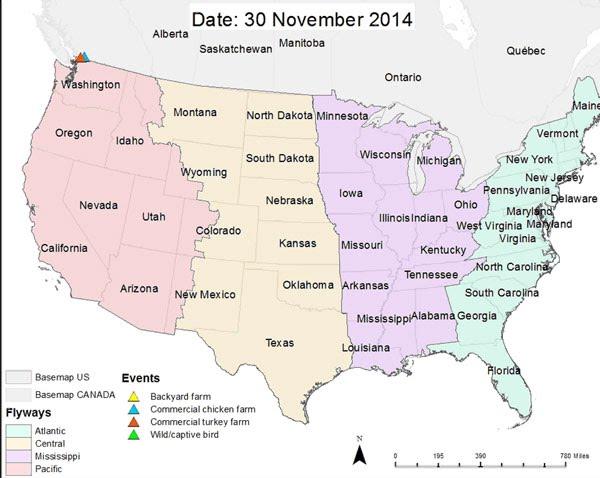 Highly Pathogenic Avian Influenza Virus Midwestern United States - Us influenza map