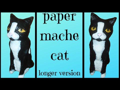 diy: paper mache kitty cat - longer version