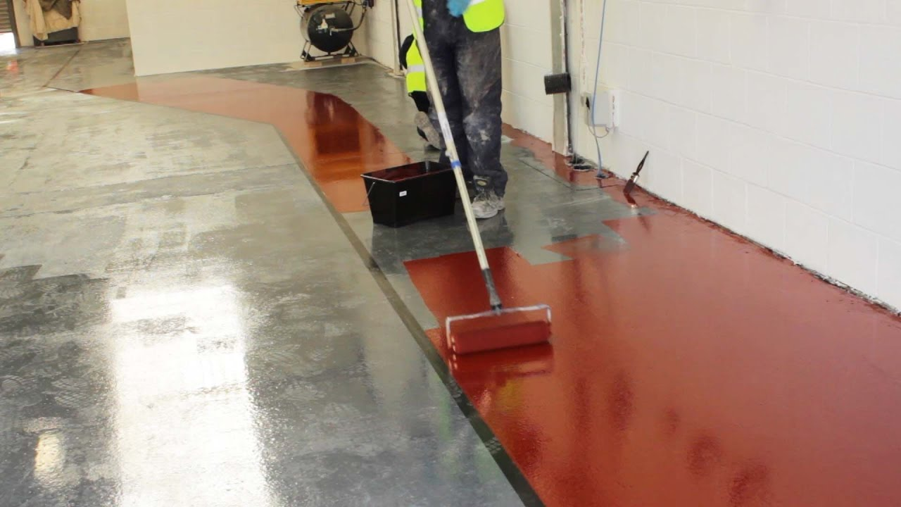 Paint a concrete floor with epoxy resin paint | Rizistal - YouTube