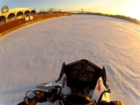 Snowmobile Ride From Walbridge Park To Downtown Toledo, Ohio RAW FOOTAGE!!! 3-3-14
