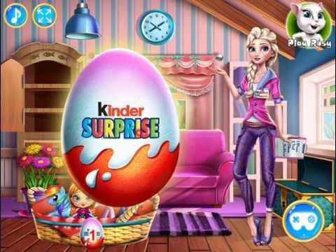 Мультик игра Холодное сердце: Эльза открывает Киндер сюрприз (Elsa Kinder Surprise)
