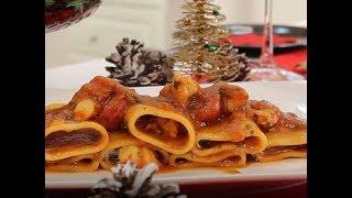 Paccheri me karkaleca - Paccheri pasta with shrimps