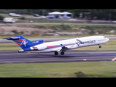 Bouncy Landing!! Amerijet 727-200F in Antigua [HD]