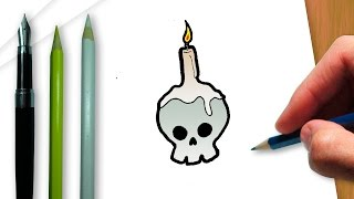 How to draw a Halloween skull candlestick