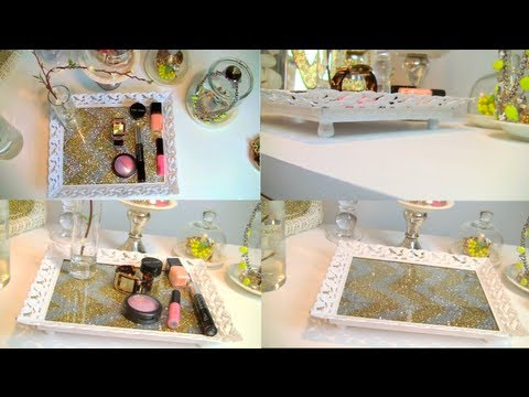 Diy Vanity Perfume Tray Chevron Glitter Home Decor