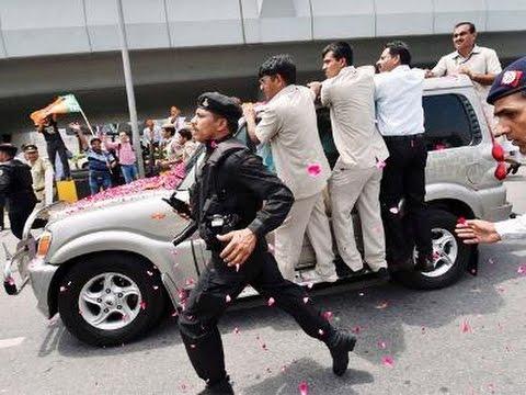 PM MODI CAR CONVEY AT  INDIRA GANDHI INTERNATIONAL AIRPORT