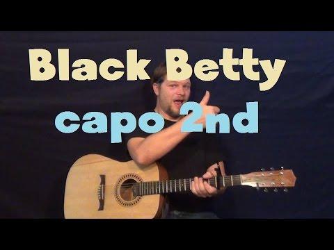 Black Betty (Ram Jam) Easy Guitar Lesson Chords Licks Capo 2nd Fret How to Play Tutorial