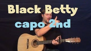 Black Betty (Ram Jam) Easy Guitar Lesson Chords Licks Capo 2nd Fret How to Play Tutorial