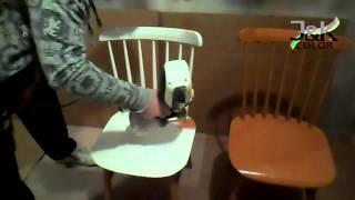 Nástřik židlí - Spraying Chairs, Wagner Flexio 585, Vodou ředitelná Barva