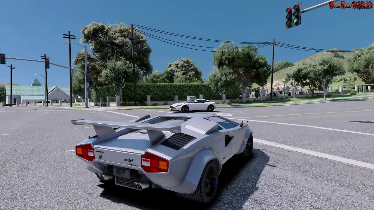 Awesome GTA V 4K Lamborghini Countach QV   Ultra Realistic Graphics Mod ✪ CUSTOM  REDUX + MVGA