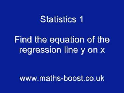 Finding the equation of the regression line y on x