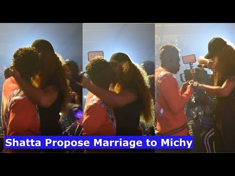 Shatta wale suprises Michy with Marriage Proposal on live Stage @ Reign Al...