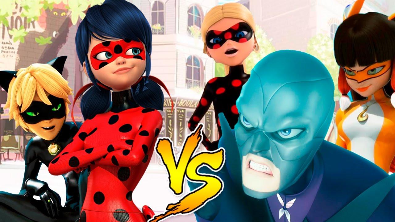 Miraculouis Ladybug e Cat Noir vs Hawk Moth Volpina ...