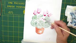 Paint the cyclamen plant in watercolour in 11 munutes